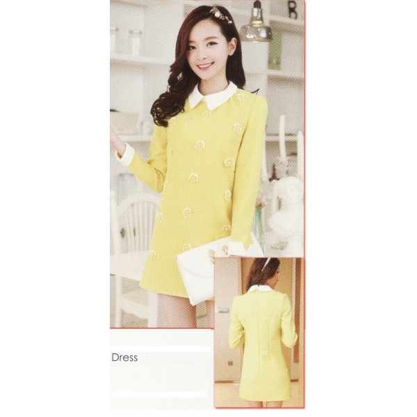 **CELLY**IMPORTED LONG SLEEVE DRESS (YELLOW)