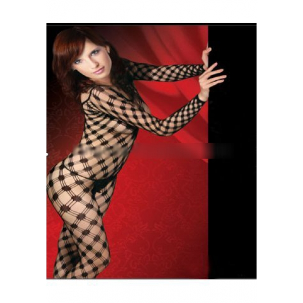 **CELLY** Imported Long sleeved Lycra Triple Diamond Net Bodystocking