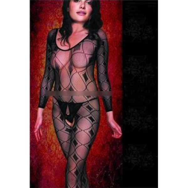 **CELLY** Imported Long Sleeved Patterned Fishnet Bodystocking