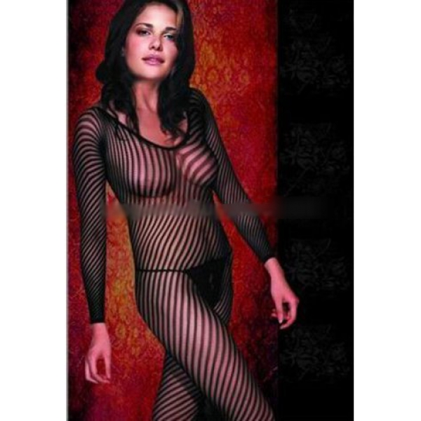 **CELLY** Imported Long Sleeved Striped Bodystocking