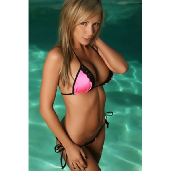 **CELLY** Imported Micro Scrunchie Bikini Neon Pink Black Lace