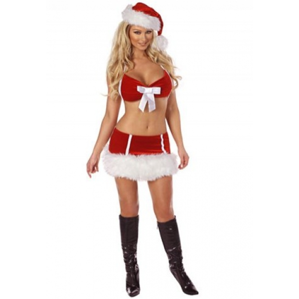 **CELLY** IMPORTED MINI SANTA COSTUMES WITH FRONT RIBBON DETAIL
