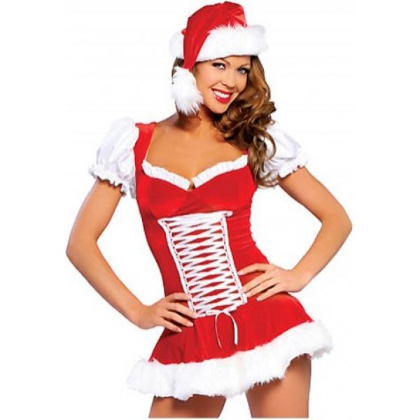 **CELLY** IMPORTED MS. MERRY LACE UP SHORT SLEEVE CHRISTMAS DRESS SET