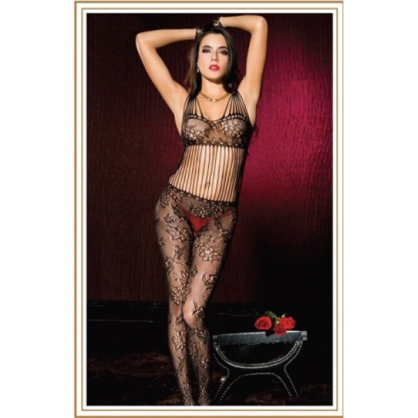 **CELLY** IMPORTED MUSIC LEGS FANTASY ROPE KNITTED LACE BLACK BODY STO..