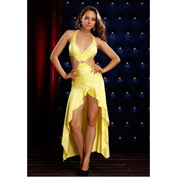 **CELLY** IMPORTED OPEN FRONT AND BACK HALTER LONG DRESS