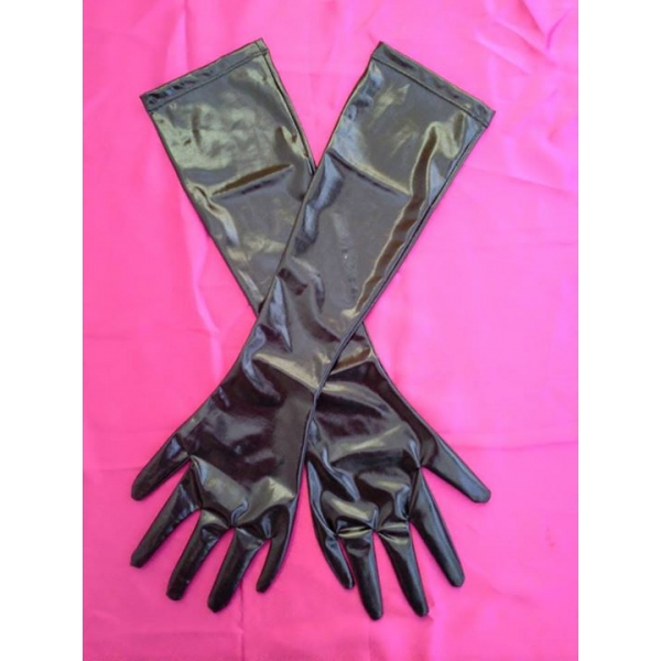 **CELLY** IMPORTED OPERA PVC LEATHER LONG GLOVES - BACK IN STOCK