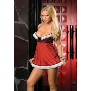 **CELLY** Imported Plaid and Knit Chiffon Babydoll Set with Lace Trim