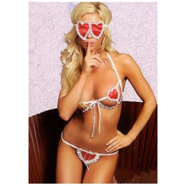 **CELLY** IMPORTED PLAYFUL HEART SHAPE LACY BIKINI W BLIND FOLD