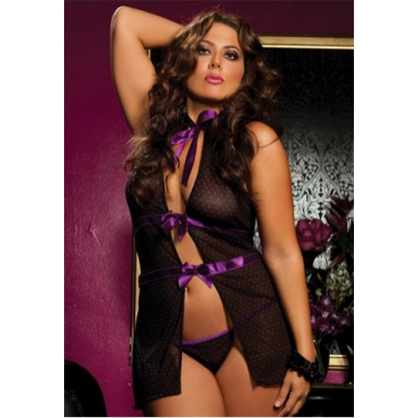 **CELLY**Imported Plus Size Polka Dot Front Tie Ribbons Babydoll
