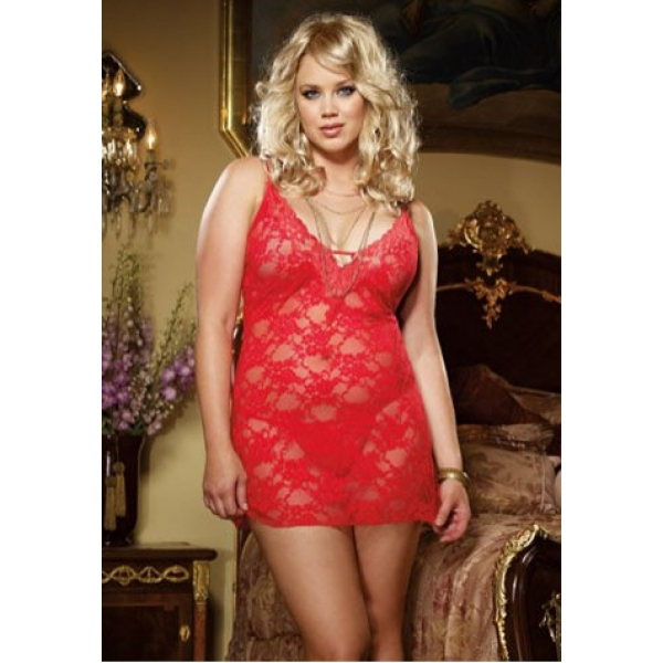 **CELLY**Imported Plus Size Red Hot Chemise with Glamour Lace