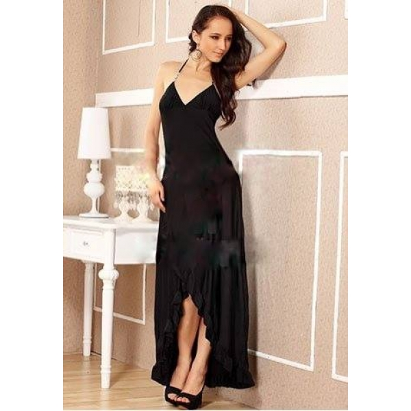 **CELLY** IMPORTED RUFFLE TRIMMED HEM LONG DRESS