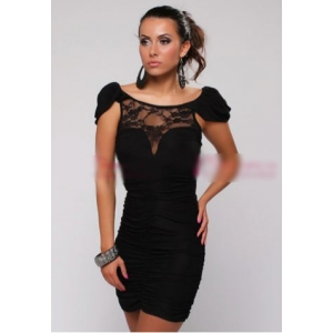 **CELLY** Imported Sexy Lace Top Short Sleeves Dress