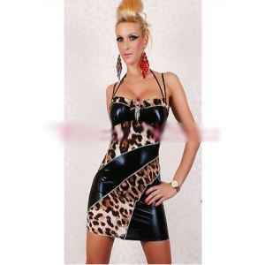 **CELLY** Imported Sexy Leopard Leather Mini Dress