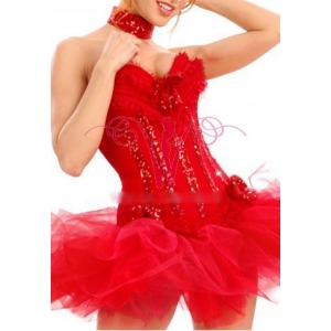 **CELLY** Imported Sexy Sequin Santa Corset with Tutu Skirt