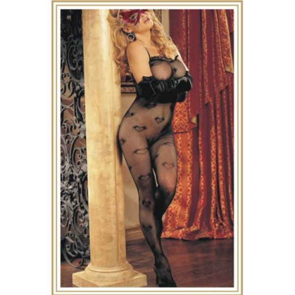 **CELLY** IMPORTED SEXY SHEER MESH SHAPE BODYSTOCKING WITH HEART PRINT..