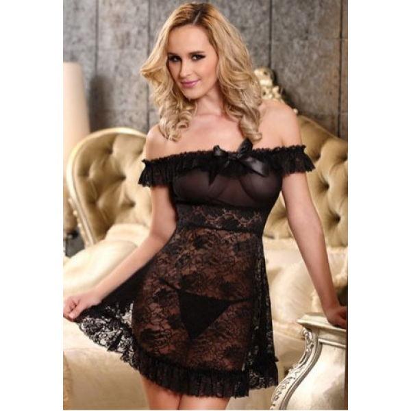 **CELLY** IMPORTED SEXY OFF THE SHOULDER STRETCH LACE CHEMISE