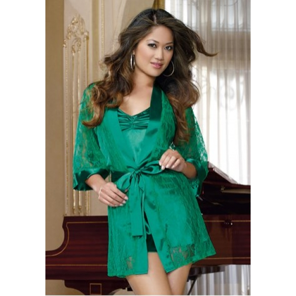 **CELLY**Imported sexy women's lingerie green lace kimono robe chemise..