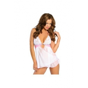 **CELLY** Imported Sheer Lace Draped Babydoll