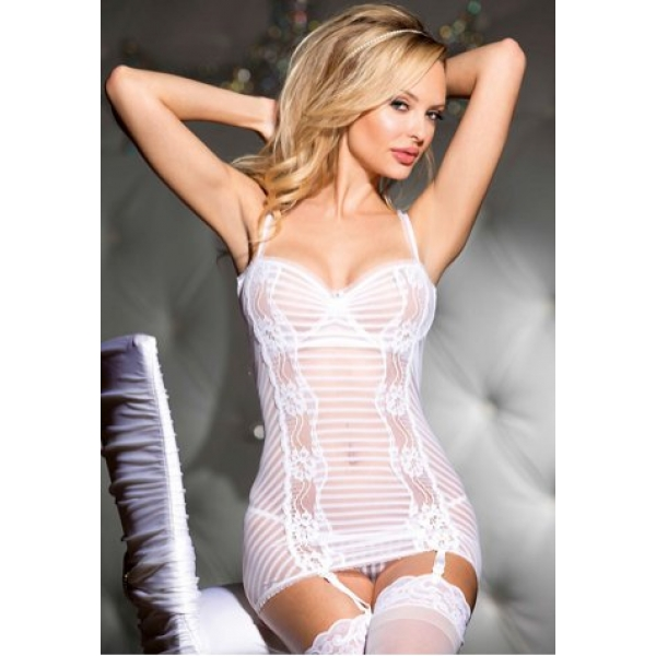 **CELLY** IMPORTED STRIPE STRETCH MESH CHEMISE WITH GARTERS
