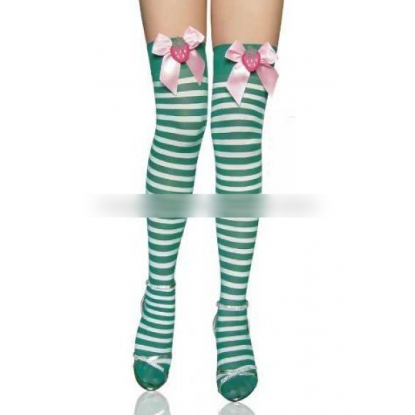 **CELLY** Imported Stripe Thigh Highs with Plush Strawberry Satin Bow ..