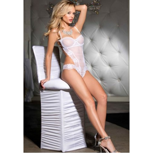 **CELLY** IMPORTED STRIPED STRETCH MESH THONG TEDDY