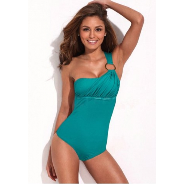 **CELLY** Imported Summer Goddess - Asymmetrical Neckline Teal One-pie..