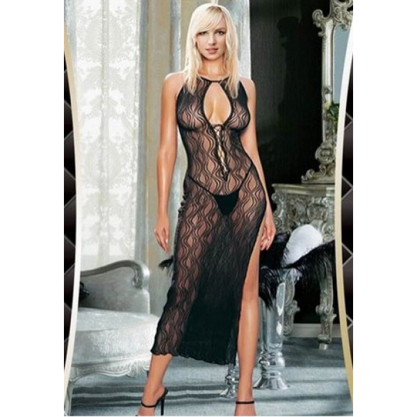 **CELLY** IMPORTED SWIRL LACE UP LONG DRESS WITH G-STRING