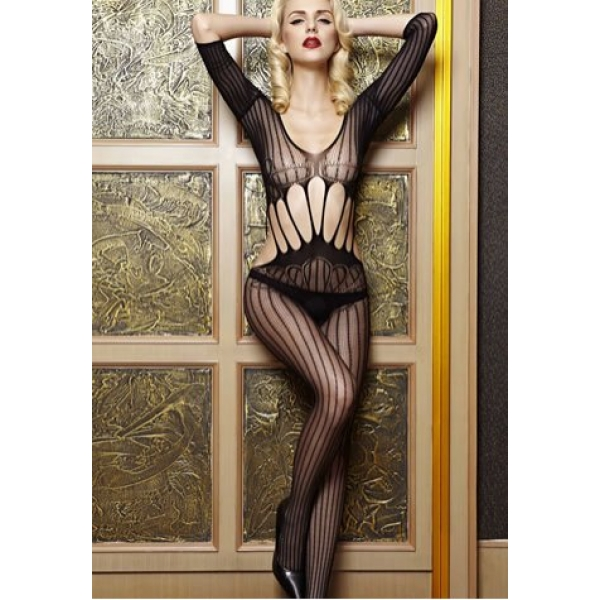 **CELLY**IMPORTED VERTICAL STRIPES FRONT BODYSTOCKING