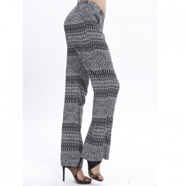 **CELLY**IMPORTED VINTAGE BLACK-WHITE GEOMETRY PRINT PANTS