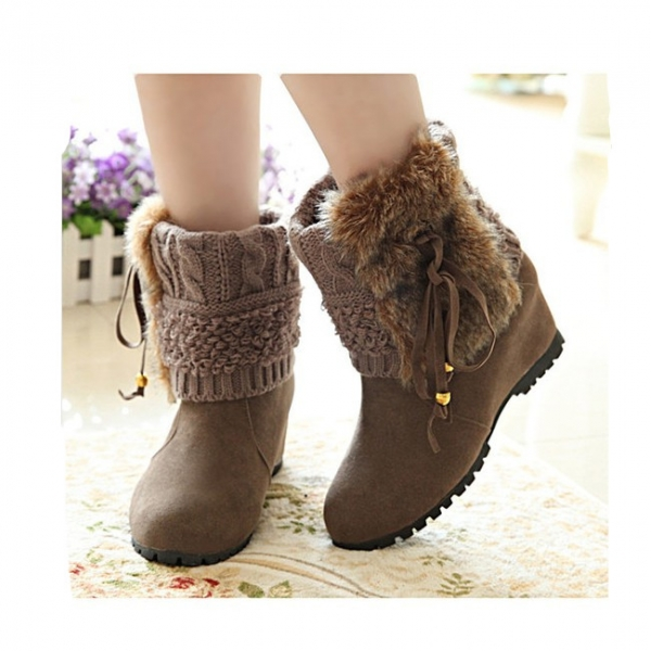 **CELLY**IMPORTED VOGUE KNIT SPLICING BOWKNOT WEDGE LOW HEEL BOOTS KHA..
