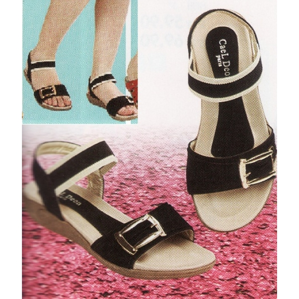 **CELLY**Ladies Comfort Shoe Sandal (Black)