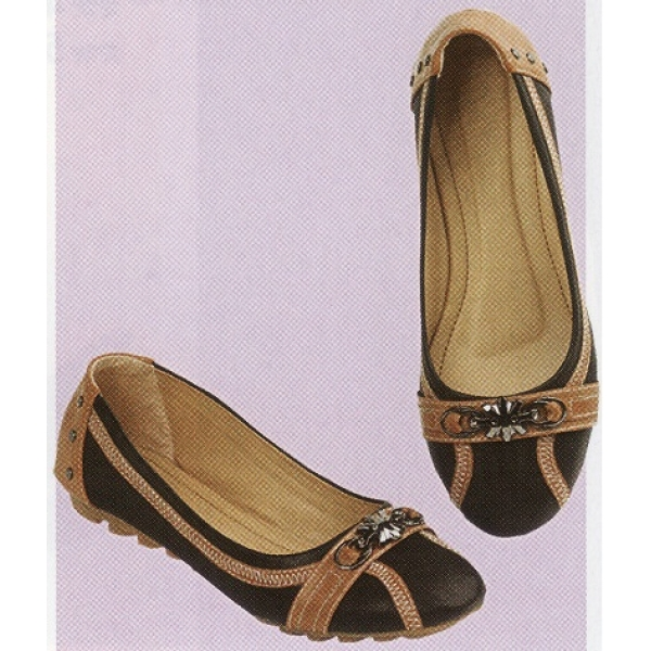 **CELLY**Ladies Flat/ Ballerina Shoe (Black+Almond)