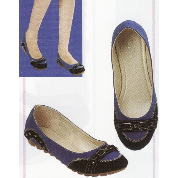 **CELLY**Ladies Flat/ Ballerina Shoe (Blue+Black)