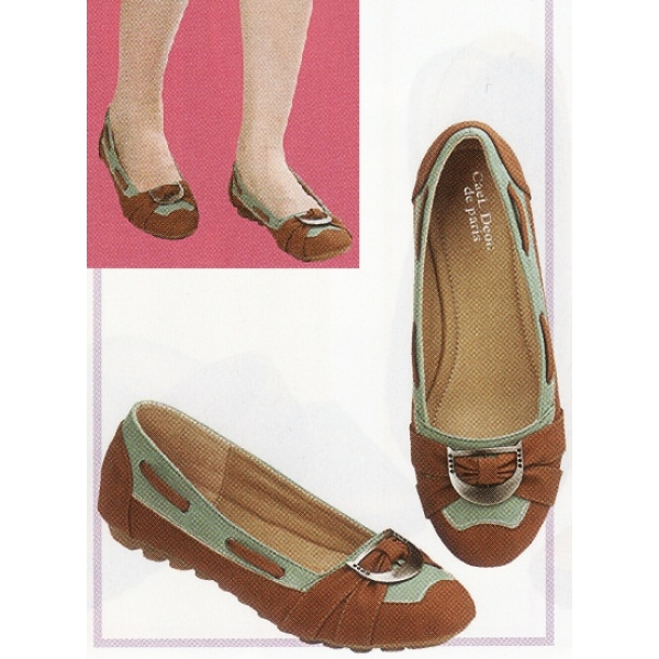 **CELLY**Ladies Flat/ Ballerina Shoe (Brown)
