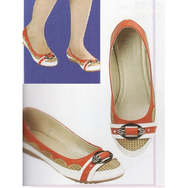 **CELLY**Ladies Flat/ Ballerina Shoe (Orange)