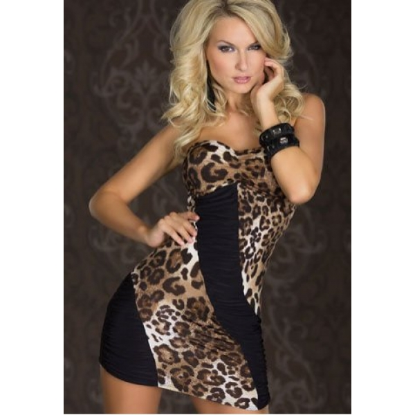**CELLY** Leopard and Black Strapless Mini Dress