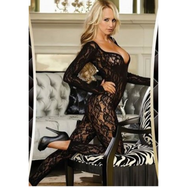 **CELLY** Long Sleeve Floral Lace Bodystocking