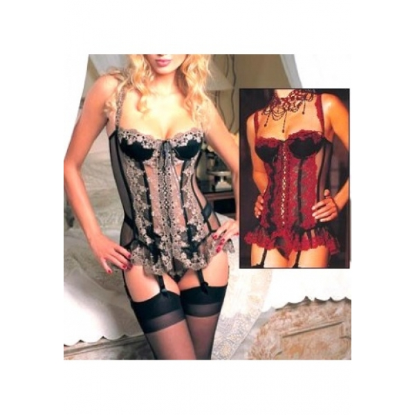 **CELLY**Mesh Lace Embroidered Underwire Corset Short Dress