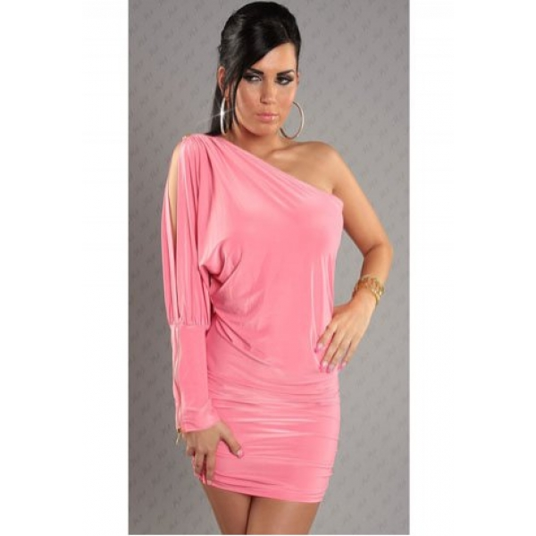 **CELLY** One Sleeve Open Shoulder Ruched Mini Dress