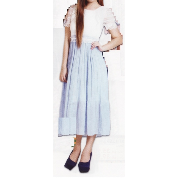 **CELLY** Short Sleeve Lace Long Dress (Blue)