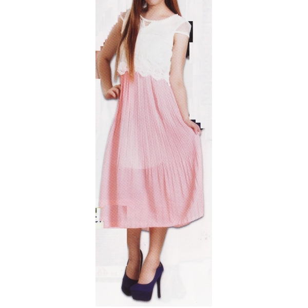 **CELLY** Short Sleeve Lace Long Dress (Pink)