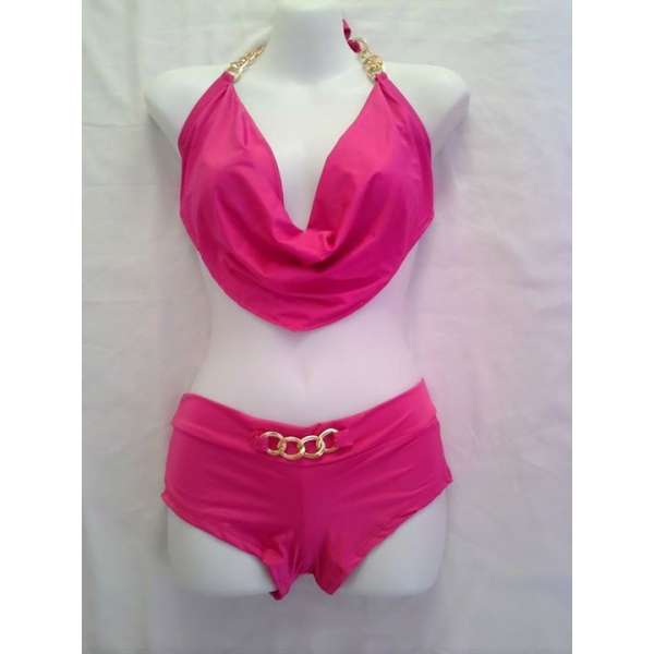 **CELLY** Two Piece Low Cut Halter and Boyshort Set (ROSE)