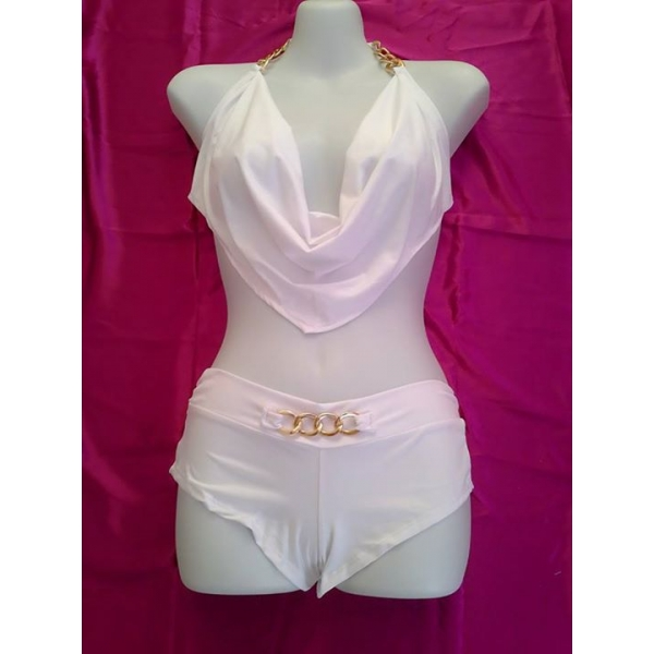 **CELLY** Two Piece Low Cut Halter and Boyshort Set (WHITE)