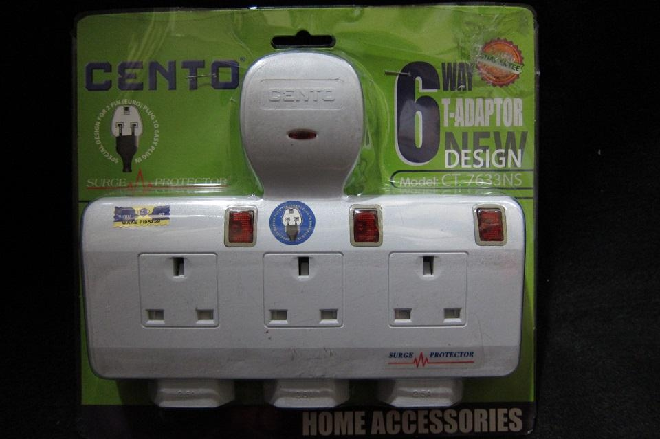 Cento Extension Socket With Surge Protector 3 Plugs+ 3 Plugs 2 pins