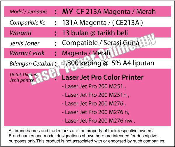 MY CF213A/131A Magenta/Red M Compatible-HP Pro 200 Color M 276n 276nw