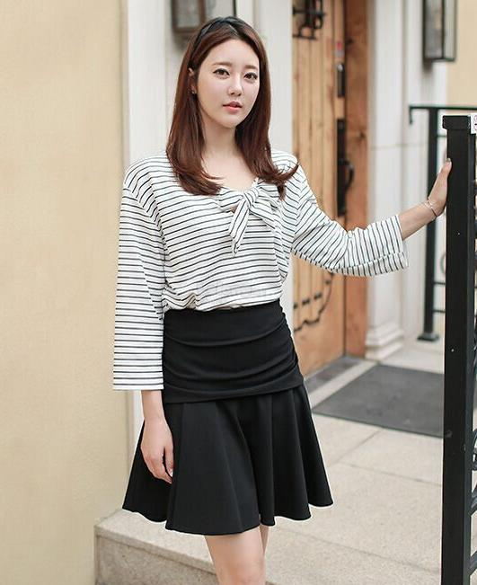 CFY 31416 Ribbon Stripe Blouse