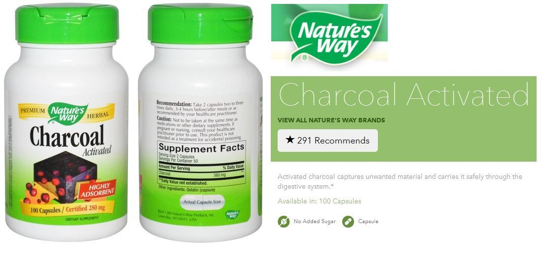 Charcoal Activated 280 mg, 100 Capsules (Made is USA)