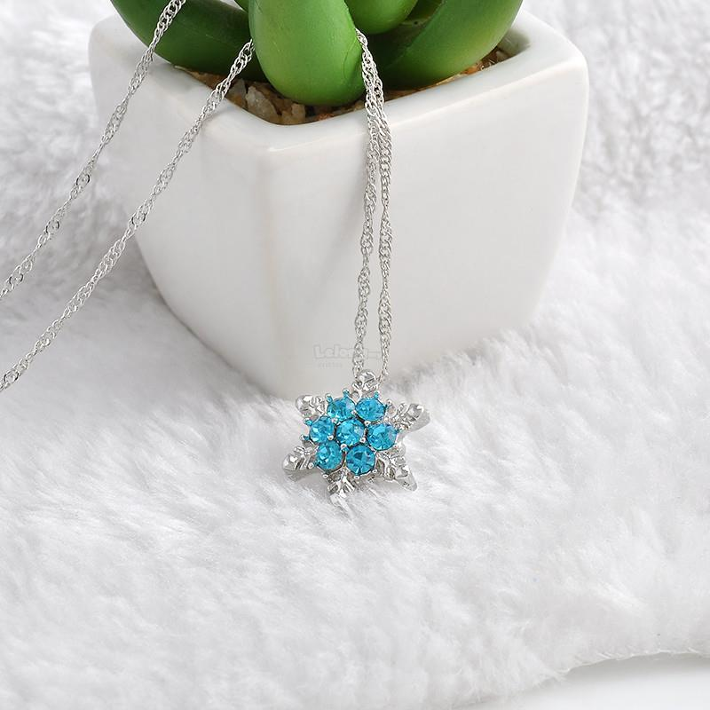 Charm Vintage lady Blue Crystal Snowflake Zircon Flower Silver Necklac