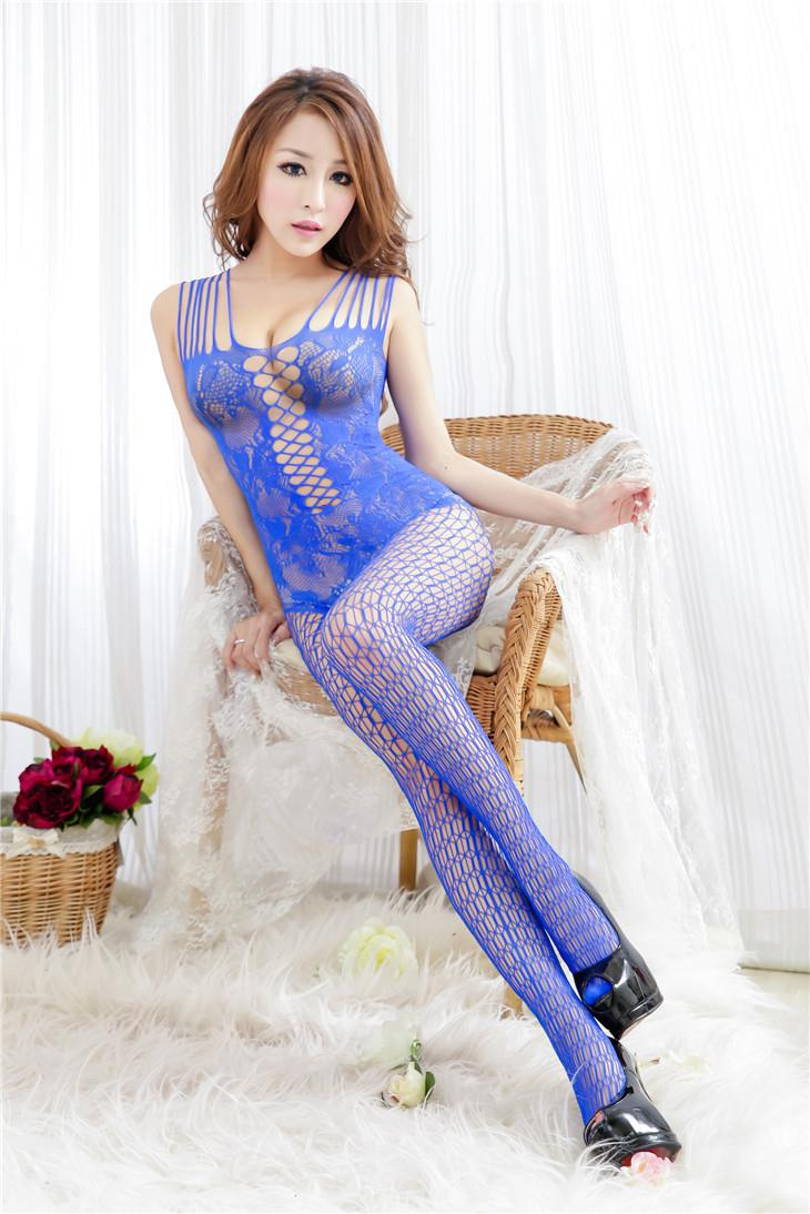 Charming Jacquard Mesh One-Pcs Fishnet Stocking (Blue)