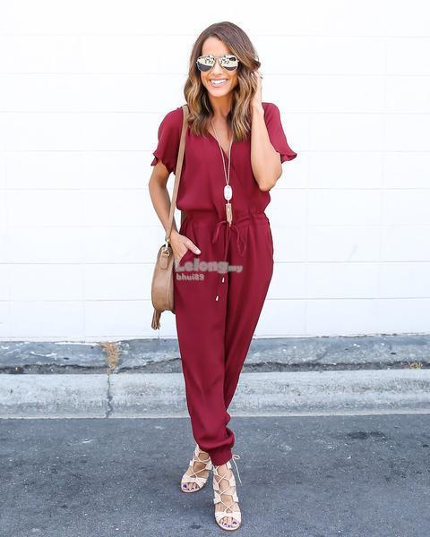 Charming Jumpsuit MAROON 7478WP